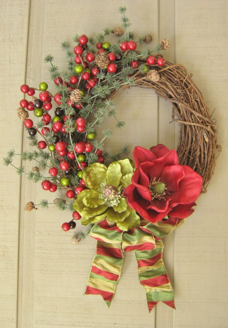 Magnolia Wreath, Magnolia Christmas, Holiday Wreath, Christmas Berry, Evergreen Wreath, Burgundy Decor, Sage Green Wreath, Decorative Bow by ElegantFlorals20 on Etsy