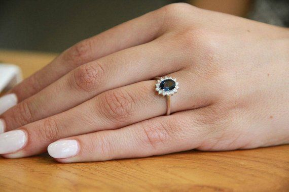 Real Blue Sapphire Ring Sapphire Engagement Ring Vintage