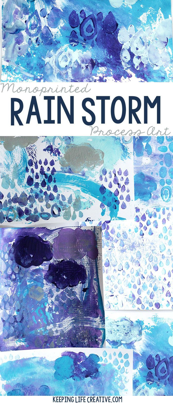 Create a monoprinted rain storm with this fun process art project. Simple step-by-step directions show how easy it can be to create a seasonal version like this rain storm art, or adapt the project to make it your own.
