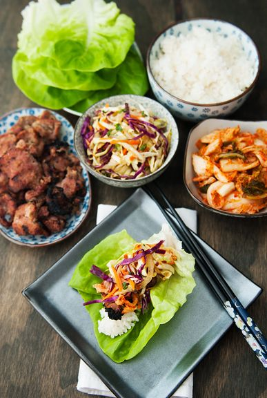 korean barbecue pork lettuce wrap recipe and Korean cole slaw | use real butter