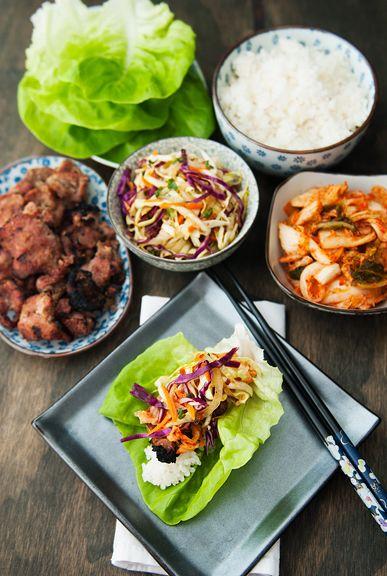 korean barbecue pork lettuce wrap recipe and Korean cole slaw | use real butter
