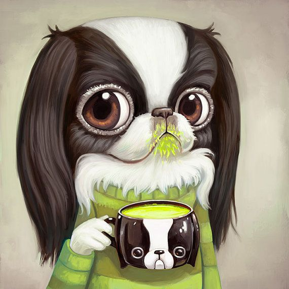 Japanese Chin Art Print  10 x 10  Cute big eyes by AsterozeaStudio #japanesechin #art