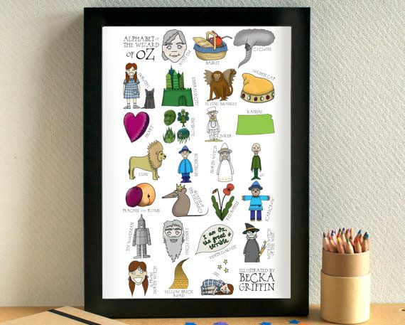 Wizard of Oz Alphabet Print - gift for book lover - literature gift - wizard of…