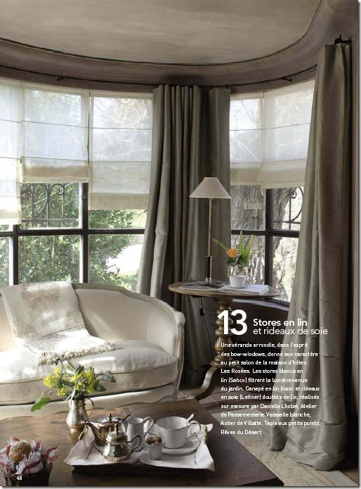 Gray silk taffeta with sheer shades - pure French elegance.  Curtains in Cote De Texas Blog Aug 2009  http://cotedetexas.blogspot.com/2009/08/top-ten-design-elements-4.html