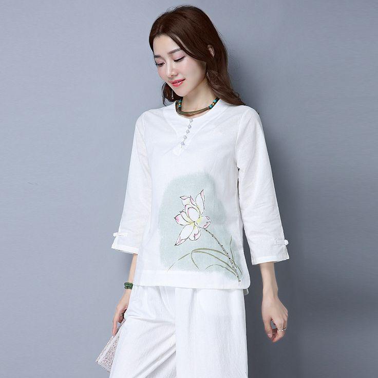 Fashion Women Shirt China Style Vintage Printing Tops Cotton Linen White Loose Blouse Elegance Female Casual Blusas Plus Size