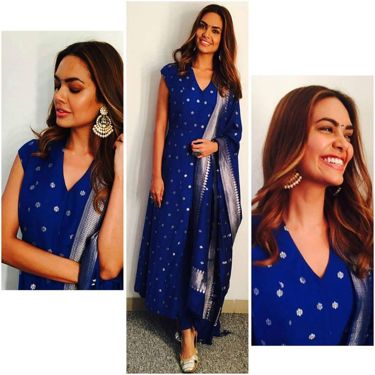 The Kamagni suit by Anita Dongre. A blue handwoven kurta in cotton silk brocade with all over floral butti, paired with a matching churidaar and dupatta. Style it with a pair of golden mojris and elegant earrings to complete the look.