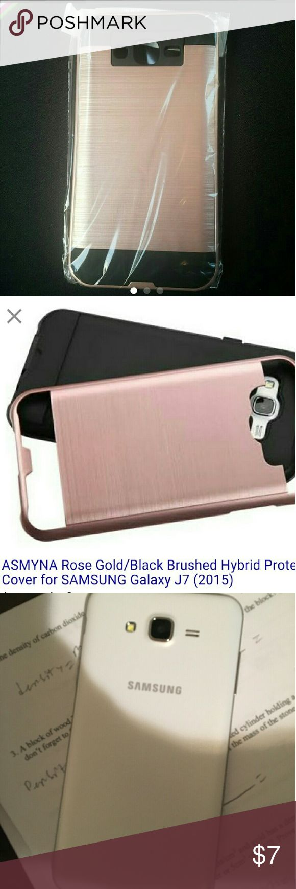 Samsung Galaxy j 7 case Hybrid rose gold cases for Galaxy J7 brand new sorry no free shipping.  2015 phone. 3rd  picture shows the phone style it will fit ( phone not included just for show) samsung  Accessories Phone Cases