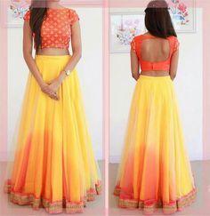 Art+Silk+Lace+Work+Yellow+Plain+Semi+Stitched+Lehenga+-+YLH at Rs 1499