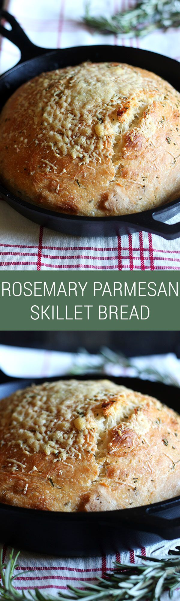 ***No Knead Rosemary Parmesan Skillet Bread ~ love that this is NO KNEAD!! Comes together in minutes and tastes SOOO good. Crispy crust too.