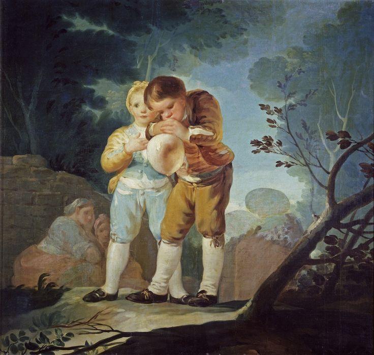 GOYA. Niños inflando una vejiga/Children inflating a bladder balloon.  1777 - 1778. Óleo sobre lienzo, 116 x 124 cm.