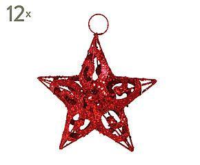 Dalani Set di 12 stelle decorative in metallo Star rosso - 15x15 cm