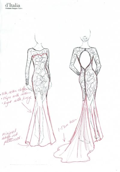Open Back Long Sleeve Gown - design sketch #frenchlace #italiansilk #wedding…