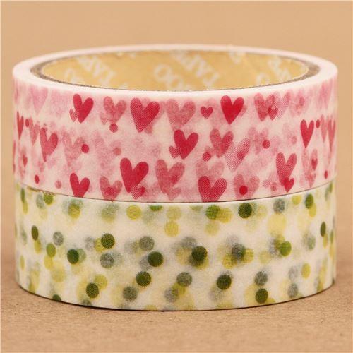 pink hearts polka dots Washi Masking Tape deco tape set 2pcs 1