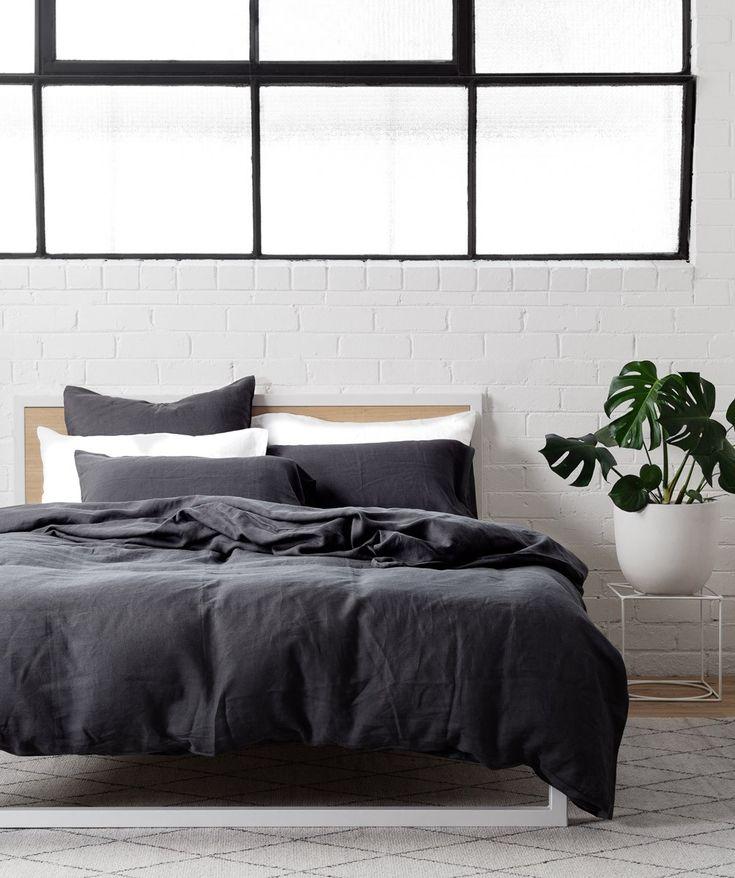 Charcoal Linen Quilt Cover Set #BedLinenInspiration