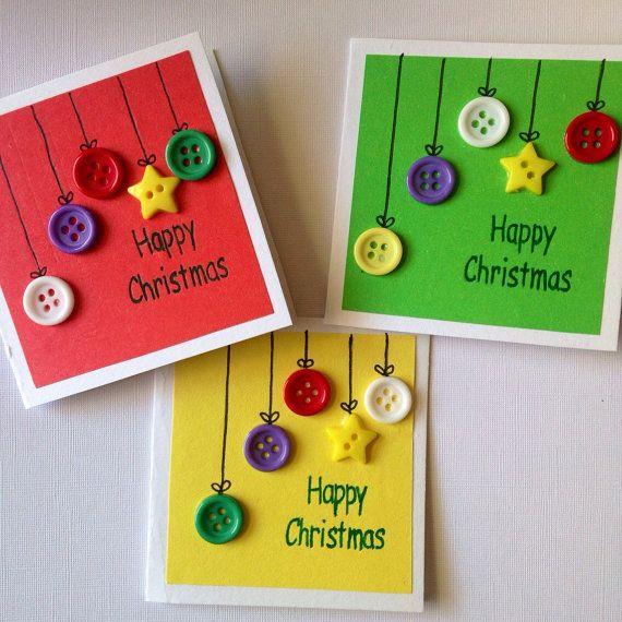 3 super mignon la main minis cartes à utiliser ce Noël.  Chaque carte a été estampillé « Joyeux Noël » et orné de boutons pour ressembler à des