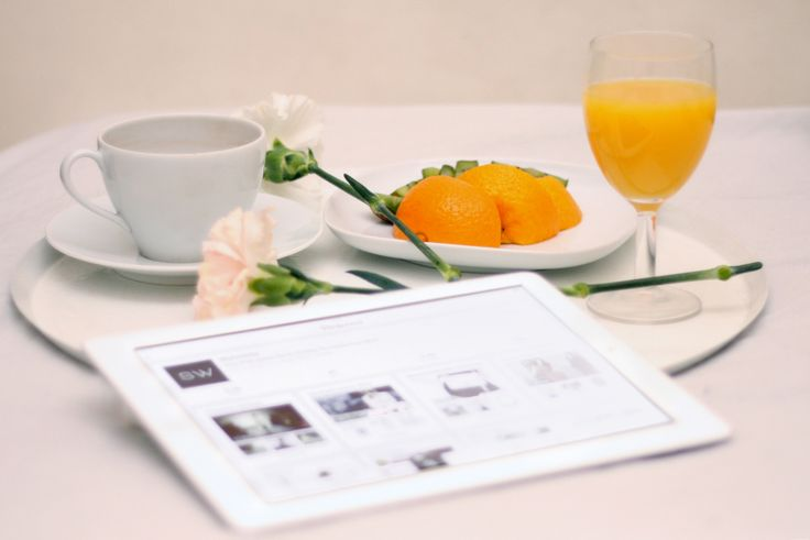 Sunday is the best day for Pinterest. #pinterest #orange #ipad #morning #coffee #breakfast in bed.