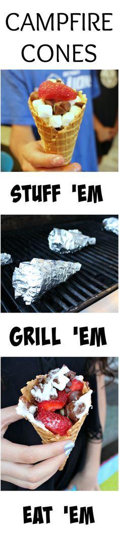 Campfire Cones! Stuff-Grill-Eat. Fun summer dessert idea! Fun party idea.