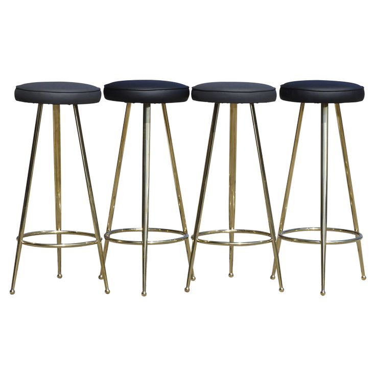 Set of Four Italian Brass Bar Stools | From a unique collection of antique and modern stools at http://www.1stdibs.com/furniture/seating/stools/