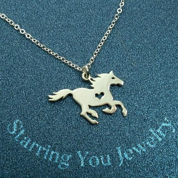 Sterling Silver Horse Necklace Equestrian Gifts for Girls