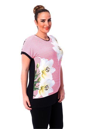 Beyaz Orkide Baskı Bluz BLZ7020 Siyah