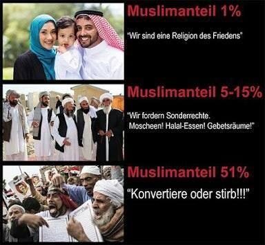 Muslimanteil 1% - friedlich, Muslimanteil 5-15% fordern Sonderrechte, Muslimanteil 51% Konvertiere oder stirb!