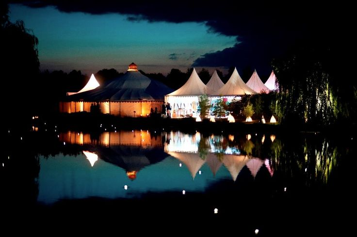 Our Grand Pavilion and Top Hats by night at lakeside.