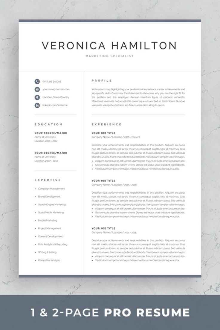 Professional Resume Template 1 And 2 Page Resume Modern Cv Template For Word Mac Pc Instant Download Cover Letter Veronica Resume Template Professional Resume Template Word Resume References
