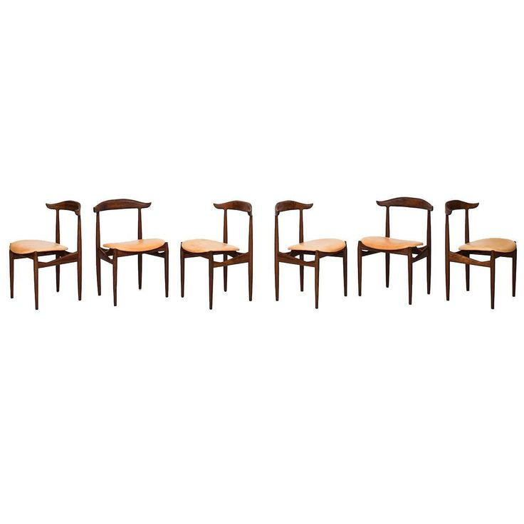 Knud Færch Dining Chairs Model 215 by Slagelse Møbelværk in Denmark | See more antique and modern Dining Room Chairs at https://www.1stdibs.com/furniture/seating/dining-room-chairs