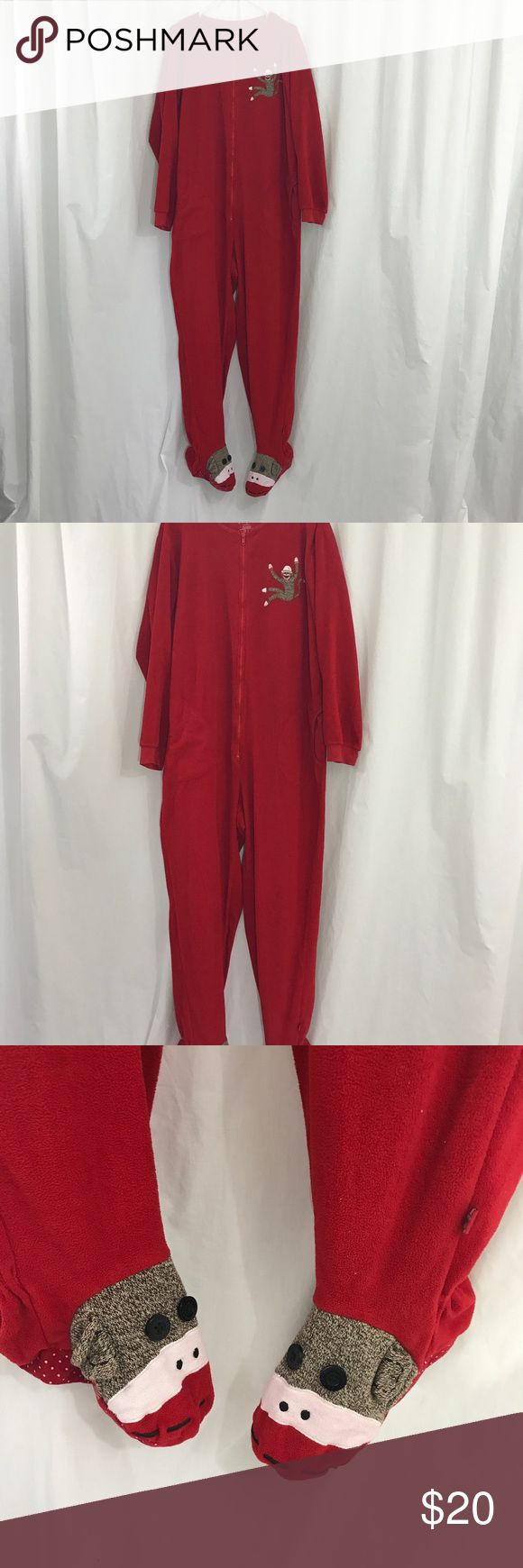 Nick and Nora Red Fleece Sock MonkeyFooted PJs XL EUC footed PJs. The feet are sock monkeys faces. Zips up the front. Super cute for the Holidays. Size CL Nick & Nora Intimates & Sleepwear Pajamas