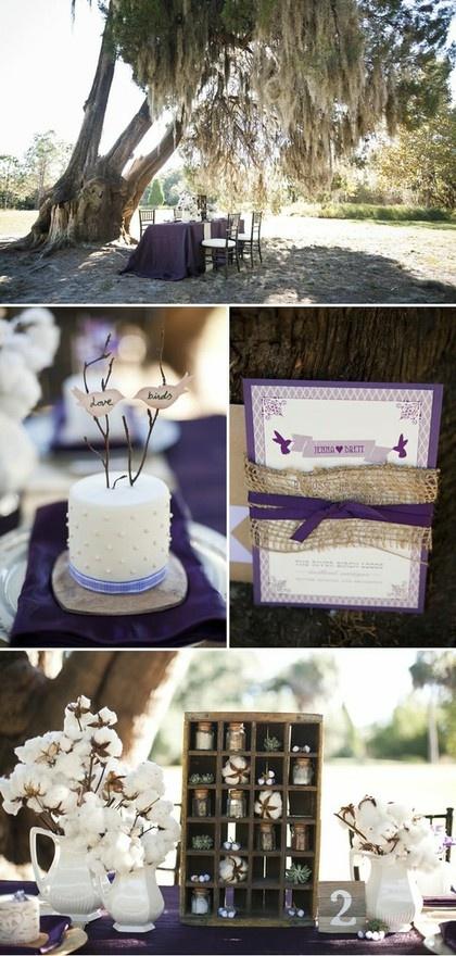 burlap wrapped wedding invite