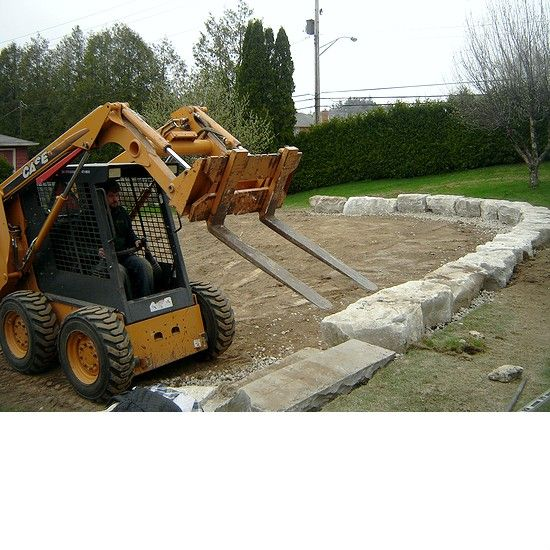 Retaining wall in the process of being built
