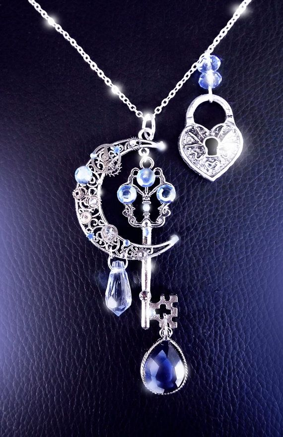 Moonlight secrets - Silver steampunk key moon necklace by CindersJewelryDesign