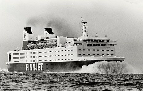 GTS Finnjet. The fastest ferry in 1977. Gas turbine ship 55 MW, 31 knots. Made by Wärtsilä Helsinki. Photo by Finnlines.