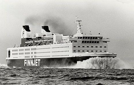 GTS Finnjet. The fastest ferry in 1977. Gas turbine ship 55 MW, 31 knots. Made by Wärtsilä Helsinki. Photo by Finnlines.