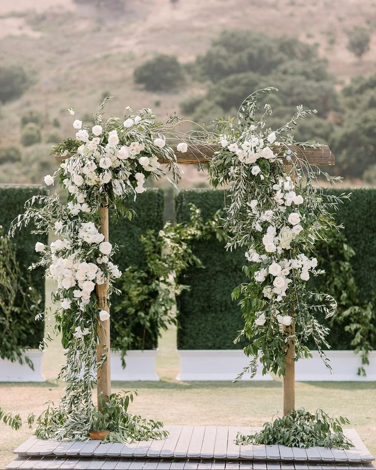 Wedding Arches With Flowers: Stunning Wedding Arch With White Flowers, Olive And Other