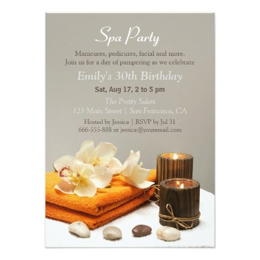 Best Spa Birthday Party Invitations Images On Pinterest - 30th birthday invitation text message