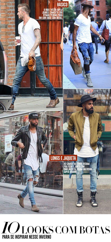 Looks masculinos com botas para se inspirar e usar no inverno, nos mais diversos estilos.