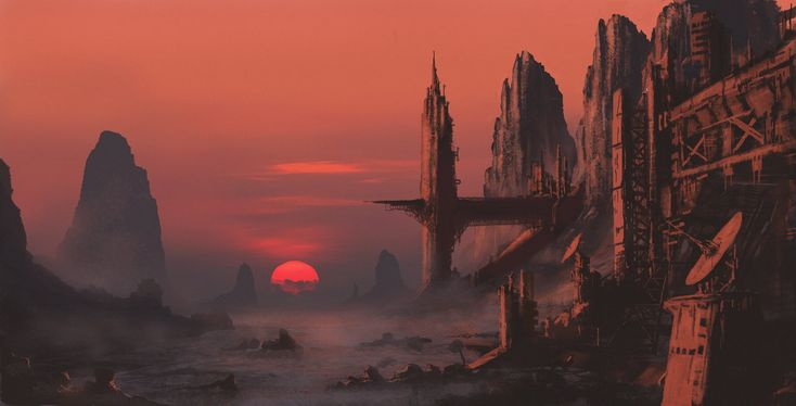 Done and Dusted by derbz sunset mining colony alien planet landscape location environment architecture | Create your own roleplaying game material w/ RPG Bard: www.rpgbard.com | Writing inspiration for Dungeons and Dragons DND D&D Pathfinder PFRPG Warhammer 40k Star Wars Shadowrun Call of Cthulhu Lord of the Rings LoTR + d20 fantasy science fiction scifi horror design | Not Trusty Sword art: click artwork for source
