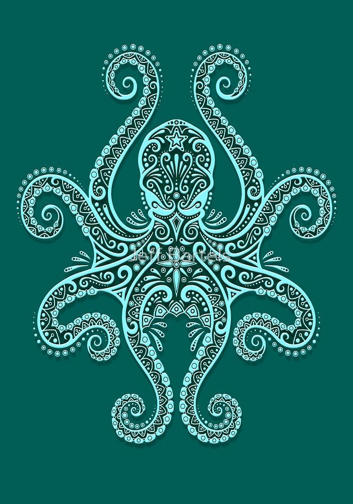 """Intricate Teal Blue Octopus"""" by Jeff Bartels 