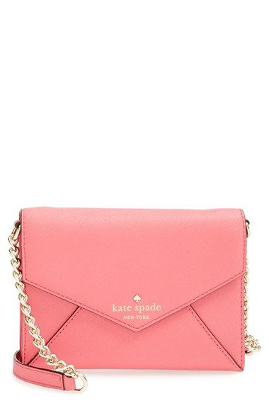 kate spade new york 'cedar street - monday' crossbody bag | A compact, envelope-style crossbody bag crafted from lustrous crosshatched leather is furnished with a optional polished chain strap for a classic, downtown-chic look.