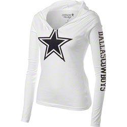 Dallas Cowboys Women's White Jersey Notch Hooded T-Shirt