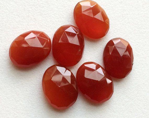 Carnelian Orange Chalcedony Rose Cut Orange Flat by gemsforjewels