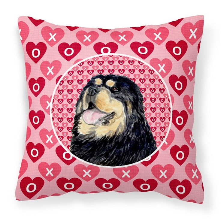 Caroline's Treasures Tibetan Mastiff Hearts Love Valentines Day Decorative Outdoor Pillow - SS4512PW1414