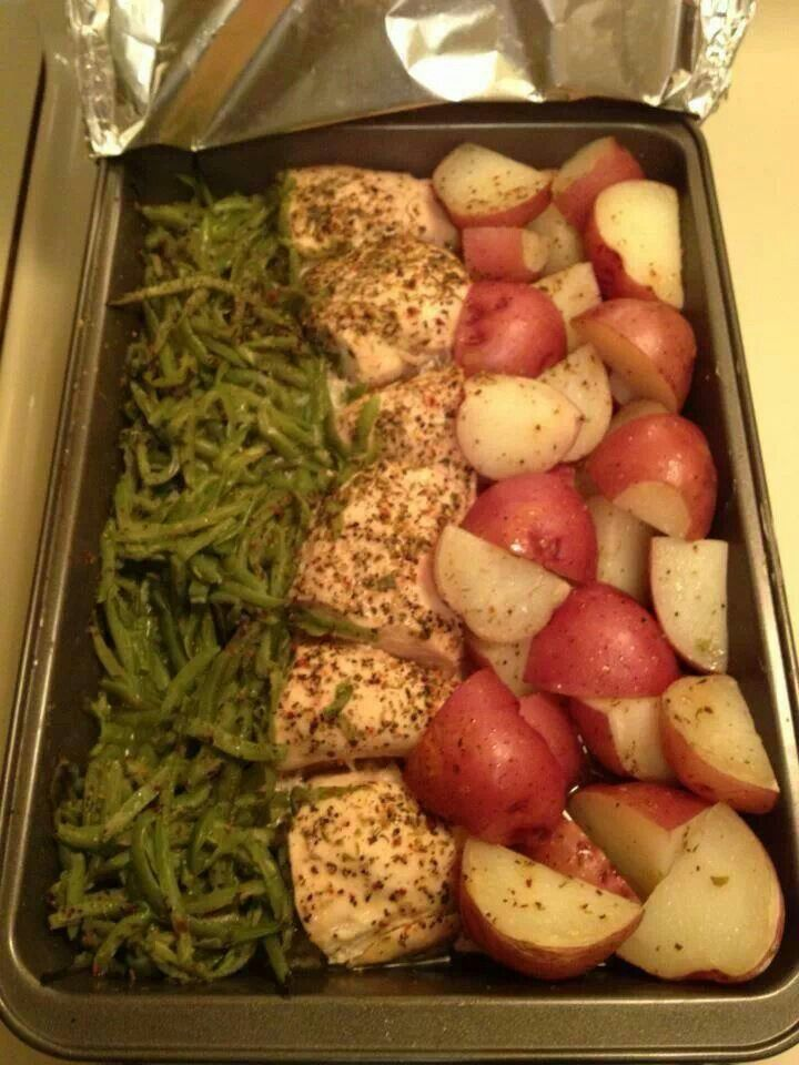 Yum! Chicken breast, green beans and red potatoes. Pour a bottle of itallian dressing over it then drizzle a half stick of melted butter over the top. Bake at 350.