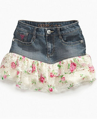 GUESS Girls Skirt, Girls Printed-Lace Denim Skort - Kids Girls 7-16 - Macy's