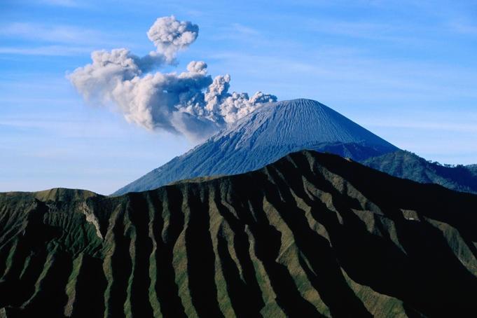 Gunung Semeru, Java    Steaming cone of Gunung Semeru.