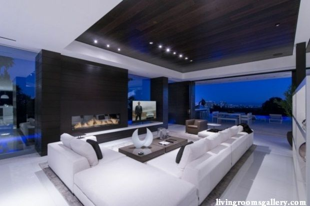 unique Pop False Ceiling Designs with LED Ceiling Lighting living room