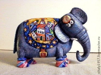 Слон Чубчик, скульптура дерево авторская работа - слон,Роспись по дереву