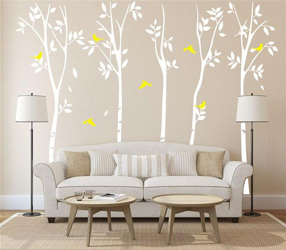arbre arbre decal blanc mur autocollant art flying brids mural arbre decal p pini re arbre. Black Bedroom Furniture Sets. Home Design Ideas