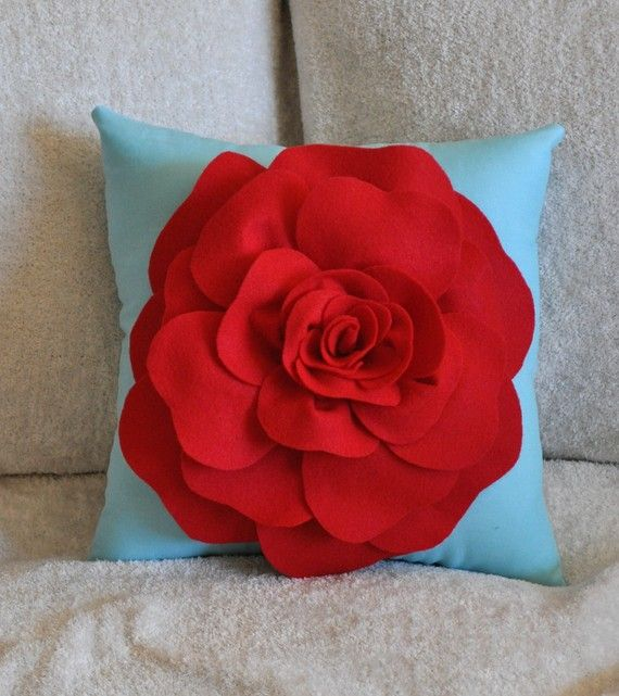 Flower Pillow Red Rose on Robins Egg Blue Accent by bedbuggs, $35.00